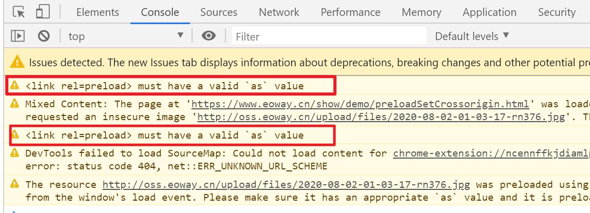 浏览器提示,preload必须要设置as